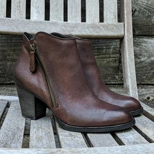 Paul Green Deep Brown Leather Ankle Boots